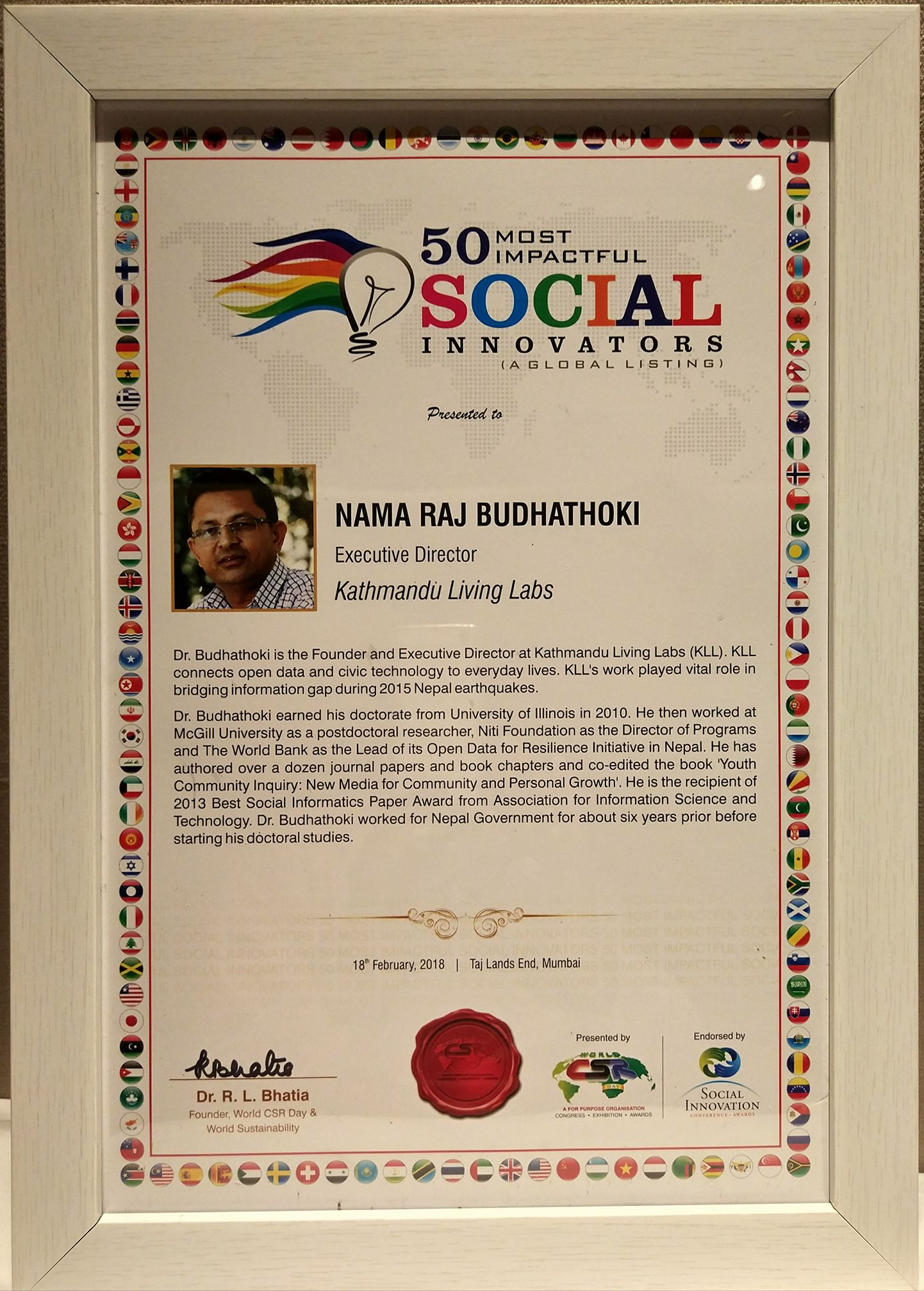 Awarded with the 50 Most Impactful Social Innovators Award